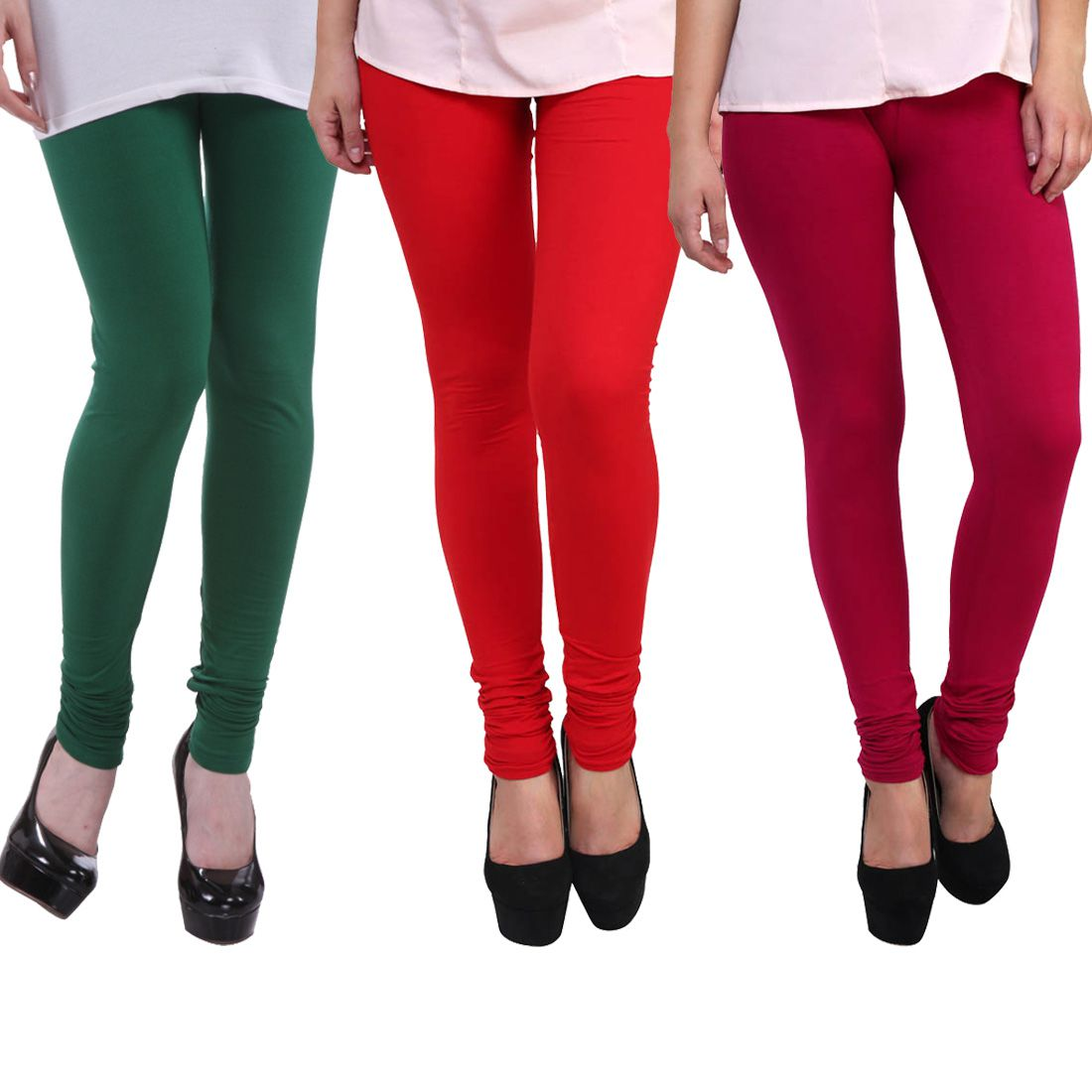 FnMe Cotton Lycra Pack of 3 Leggings