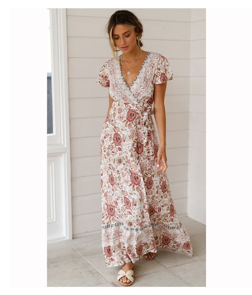4790194e48b3d COLOGO Floral Print Dress 2019 Summer Women Bohemian V-neck Beach Loose  Casual Vintage Long Maxi Dresses Holiday Vestidos