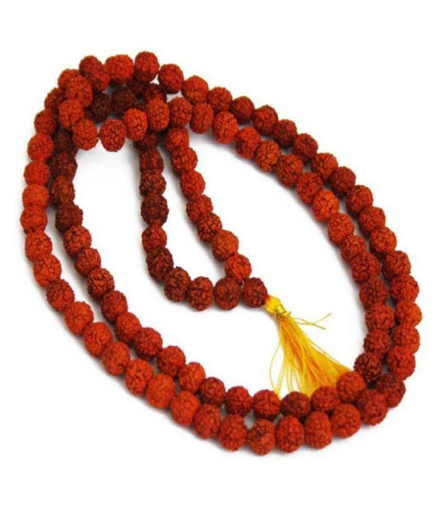 Green Spiritual Pantone 100% Orginal 5 Face Nepal Rudraksha Mala with 8mm 108 Beads with Lab Certificate - Pack of 1