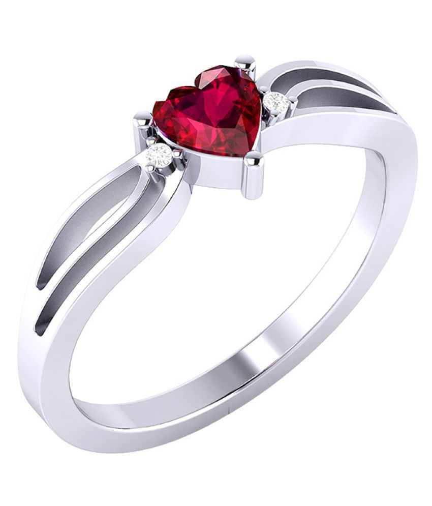 Voylla Solitaire Engagement Ring In Heart Motif