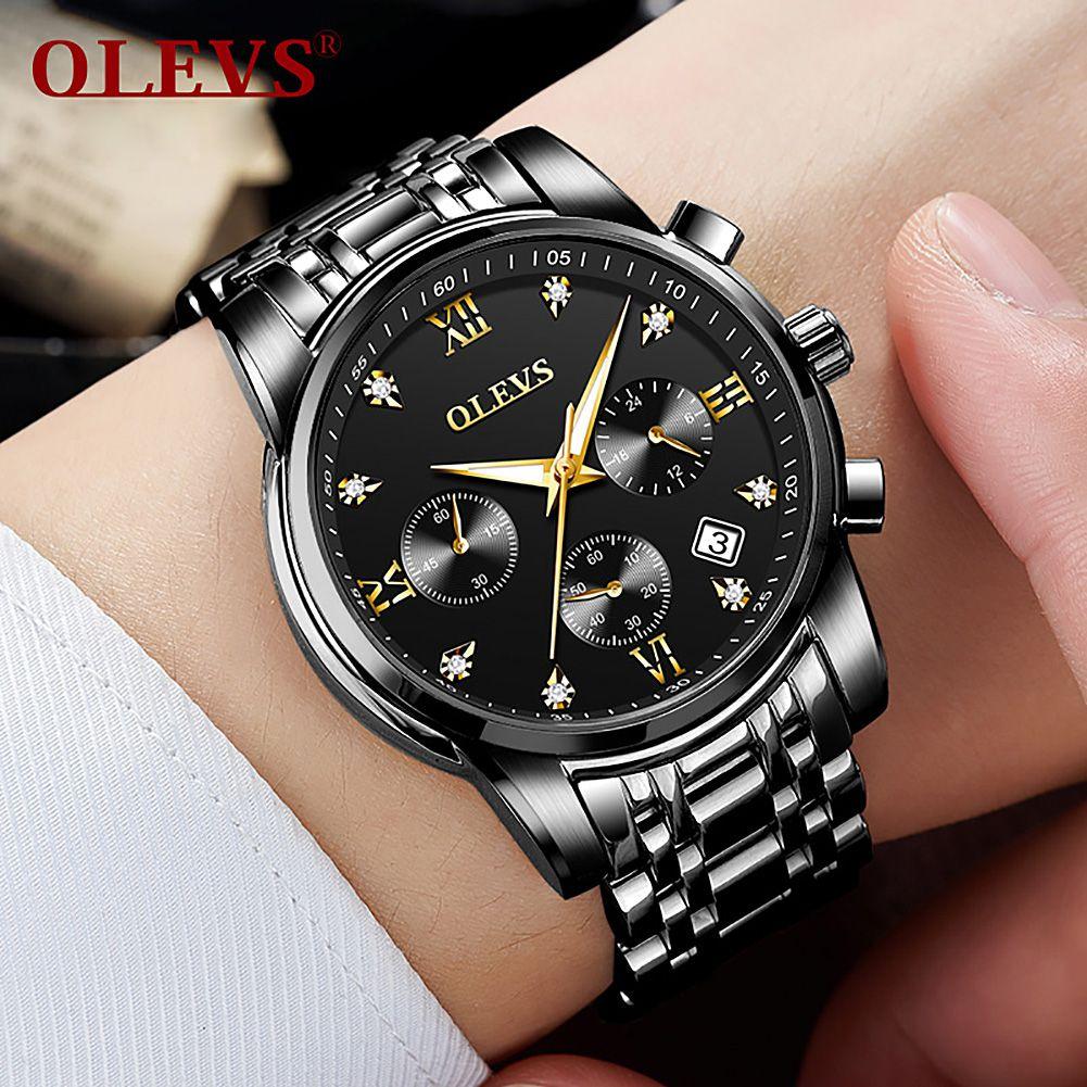 OLEVS Black Dial Metal Strap Mens Luxury Wrist Watch - 1Pc