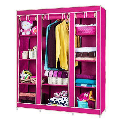 Fancy & Portable Storage Wardrobe Triple Door Foldable Wardrobe / Foldable Almirah/ Cloth Stand/ Cloth Rack/Cupboard-  Color As Per Stock