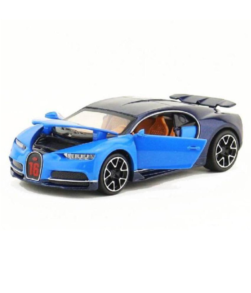 Emob Blue 1:32 Die Cast Metal Body Bugatti Chiron Super Racing Pull Back  Car Toy with Light and Sound Effects