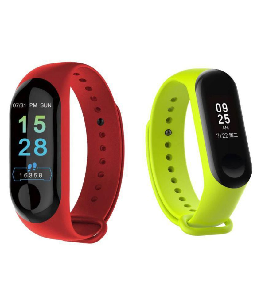 IBS M3 Smart Band Waterproof Heart Monitoring Sensor Features And Many Other Features Fitness Band & Tracker COMBO (PACK-2)