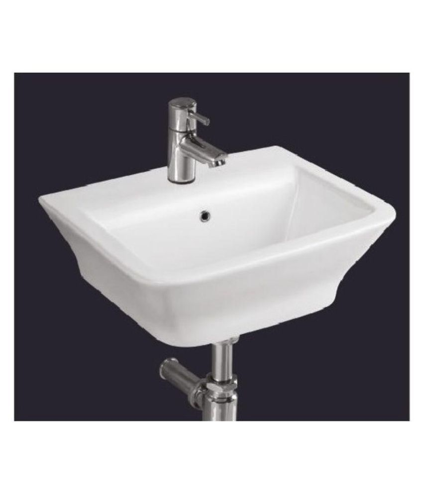 Gcera White Ceramic Wall Hung Wash Basins