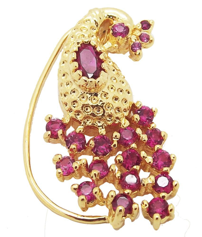 9blings Maharashtrian Style Peacock Ruby Big Gold Plated Non