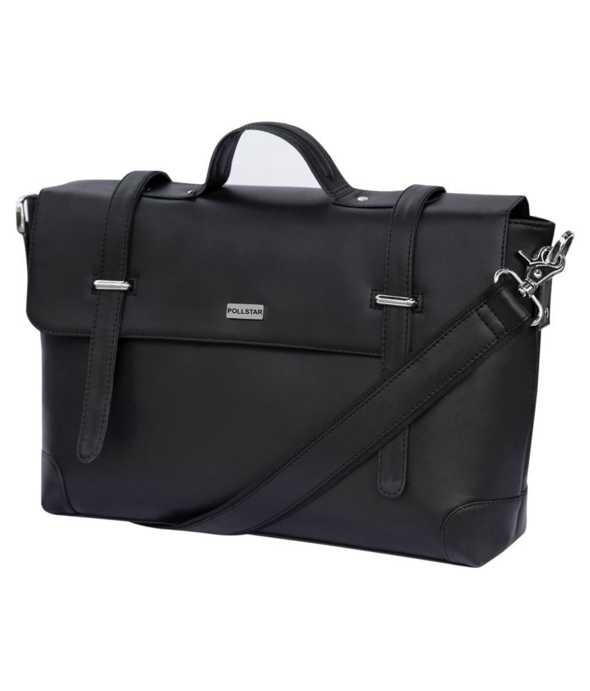 POLLSTAR MB9996BK-1 Black Leather Casual Messenger Bag