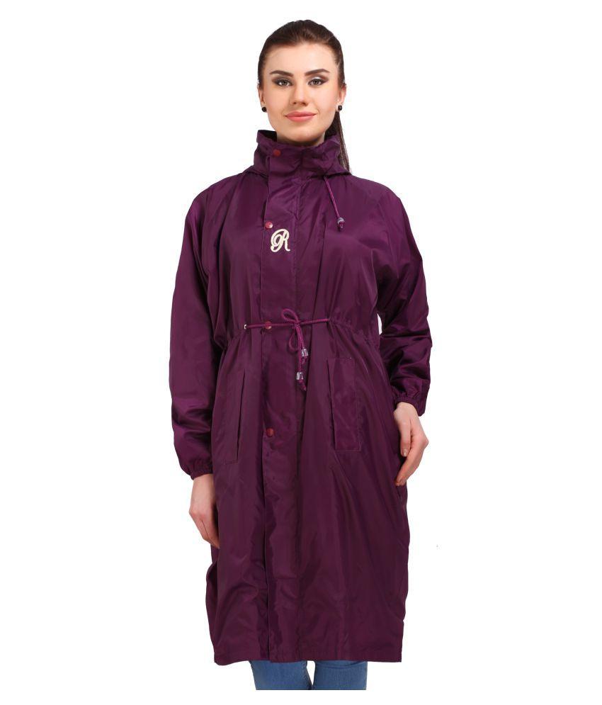 Goodluck Polyester Long Raincoat - Purple