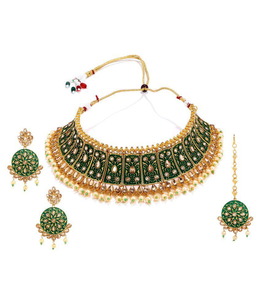 Anesh Brass Multi Color Choker Designer Gold Plated Necklaces Set