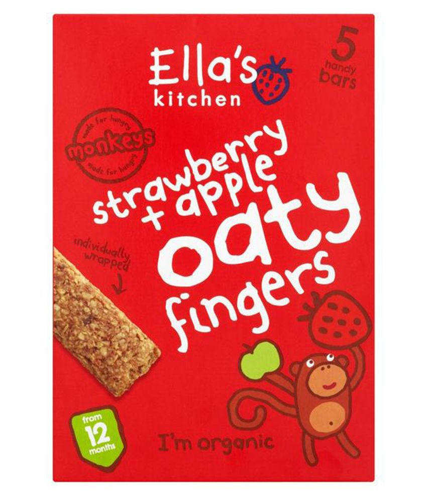 Ella's Kitchen Strawberry + Apple Oaty Snack Foods for 12 months + ( 125 gm )