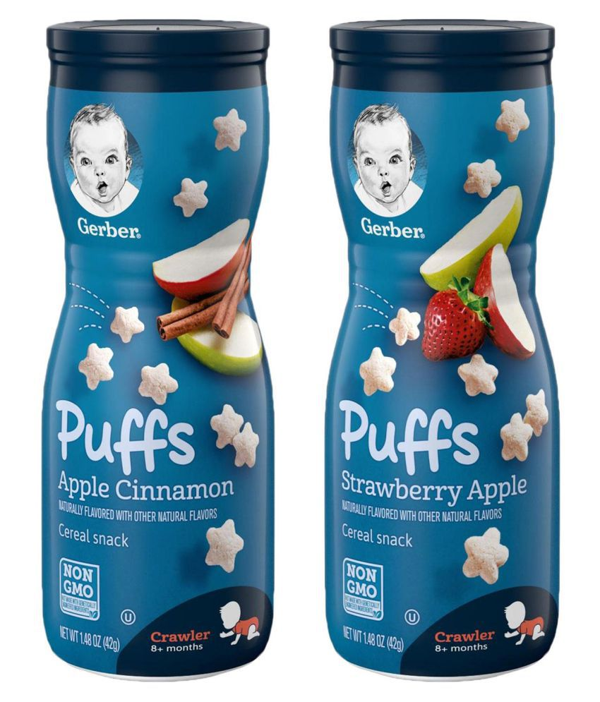 Gerber Apple Cinnamon + Strawberry Apple Snack Foods for Under 6 Months ( 84 gm ) Pack of 2