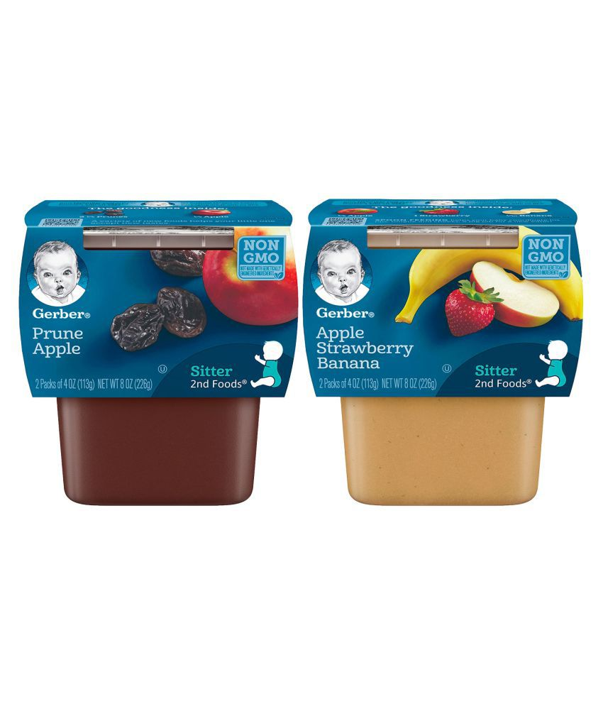 Gerber Apple Straw Banana + Prunes with Apples Snack Foods for 12 months + ( 452 gm ) Pack of 2
