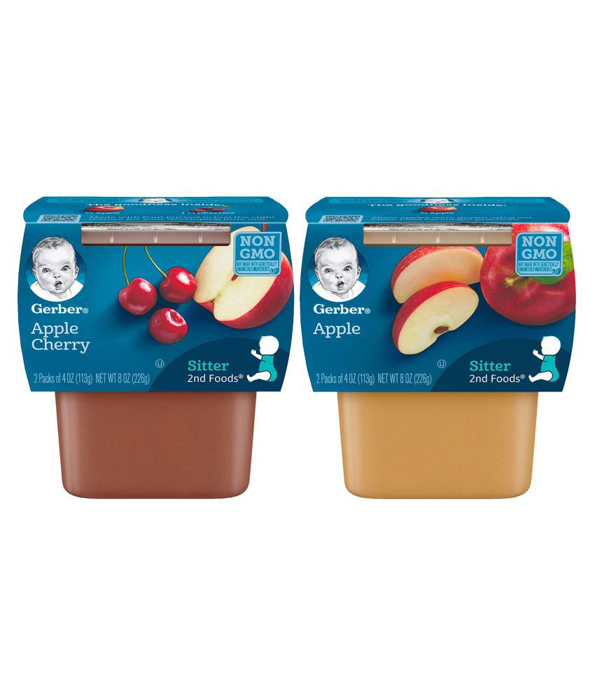 Gerber Apples + Apples & Cherries Snack Foods for 12 months + ( 452 gm ) Pack of 2