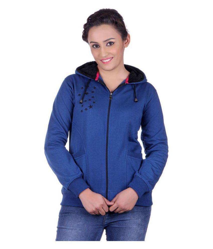 Goodluck Cotton - Fleece Blue Hooded Sweatshirt