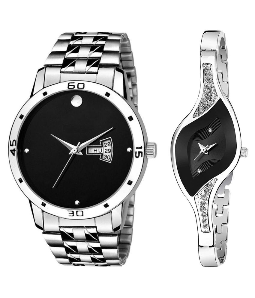Herita Enterprise Black Dial Day & date Fancy Couple Watch For New Lovers 039