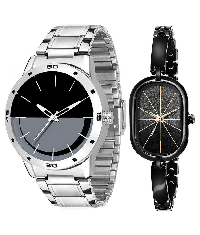 Herita Enterprise Black Dial Fancy Couple Watch For New Lovers 092