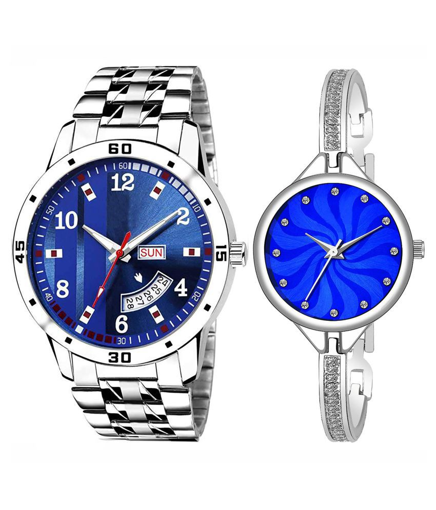 Herita Enterprise Blue Dial Day And Date New Stylish Couple Watch For Men And Women 196