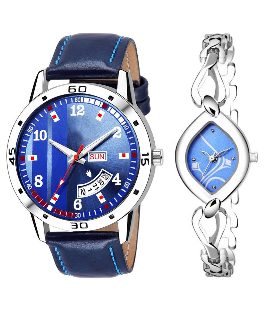 Herita Enterprise Blue Dial Day And Date New Stylish Couple Watch For Men And Women 121