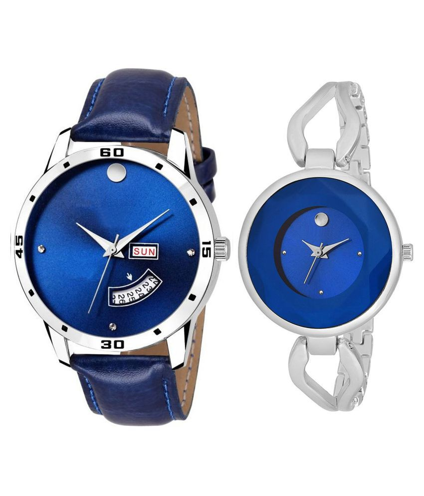 Herita Enterprise Blue Dial Day And Date New Stylish Couple Watch For Men And Women 123
