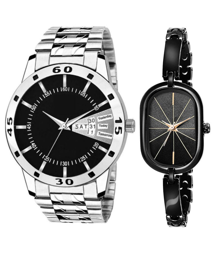 Vasant Impex Black Dial Day & date Fancy Couple Watch For New Lovers 017