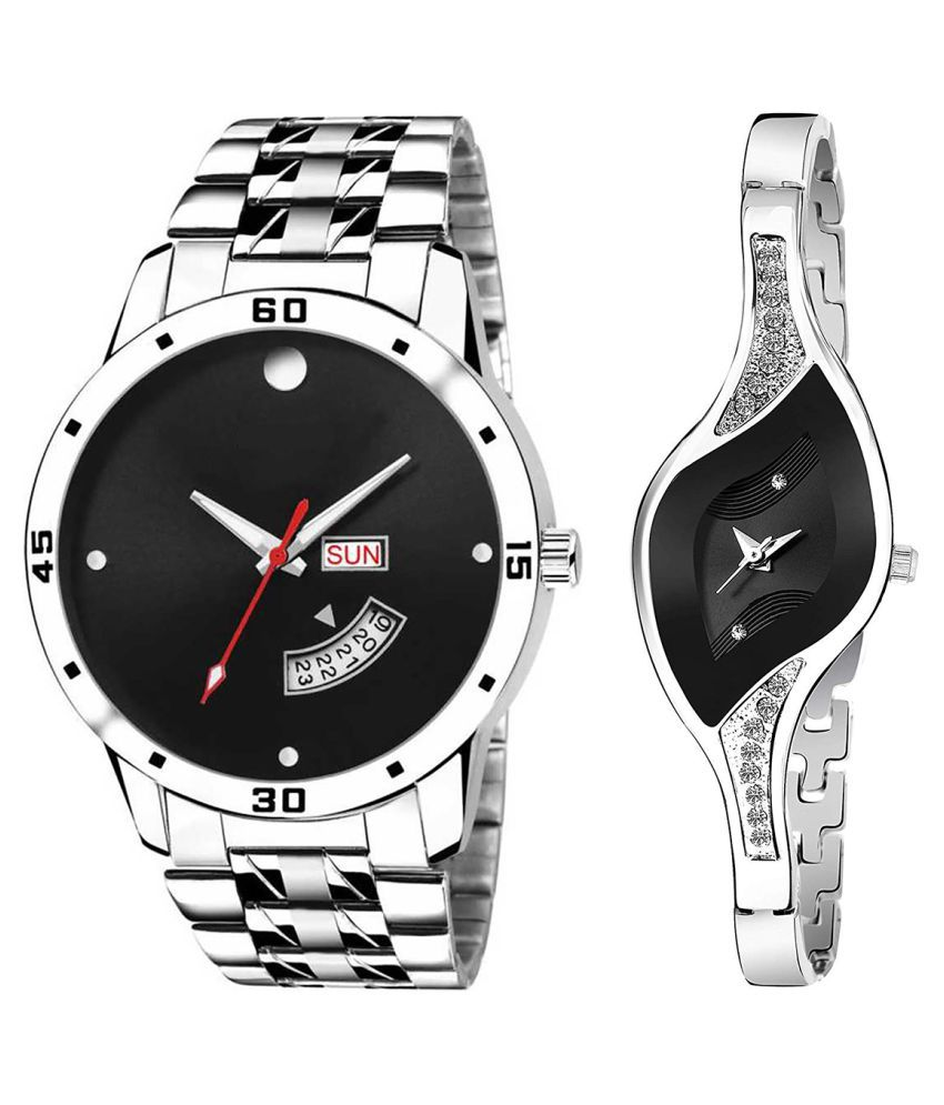 Vasant Impex Black Dial Day & date Fancy Couple Watch For New Lovers 014
