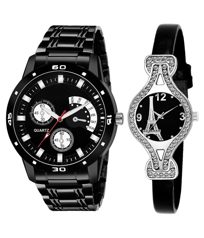 Vasant Impex Black Dial Fancy Couple Watch For New Lovers 088