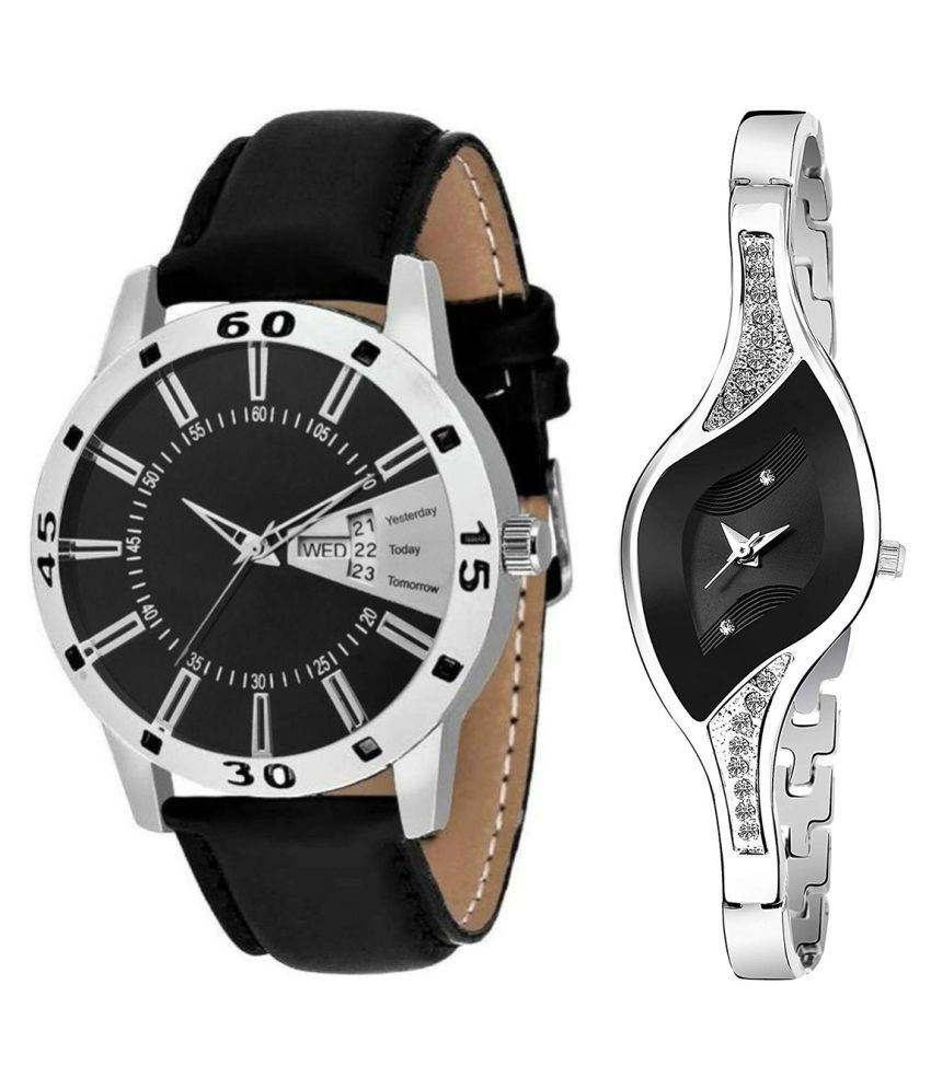 Herita Enterprise Black Dial Day & date Fancy Couple Watch For New Lovers 029