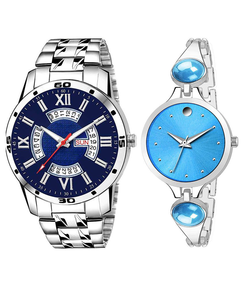 Herita Enterprise Blue Dial Day And Date New Stylish Couple Watch For Men And Women 216