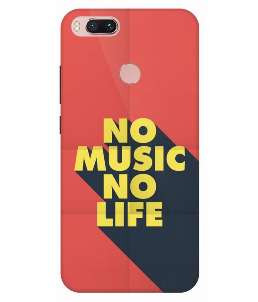 Mi A1 Printed Cover By Digi Swipes No Music No Life Premium Quality Mobile Back Cover and Cases Raised Lip for screen protection.