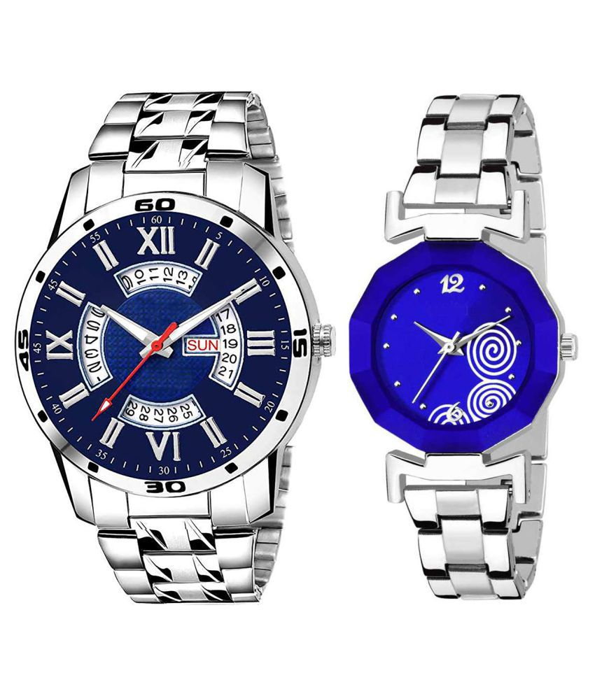 Vasant Impex Blue Dial Day And Date New Stylish Couple Watch For Men And Women 210