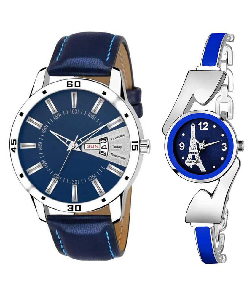 Vasant Impex Blue Dial Day And Date New Stylish Couple Watch For Men And Women 157