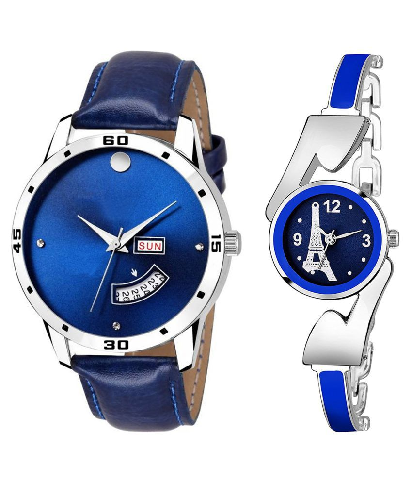 Vasant Impex Blue Dial Day And Date New Stylish Couple Watch For Men And Women 125