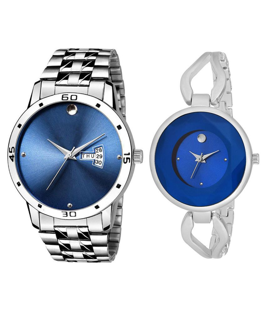 Vasant Impex Blue Dial Day And Date New Stylish Couple Watch For Men And Women 235