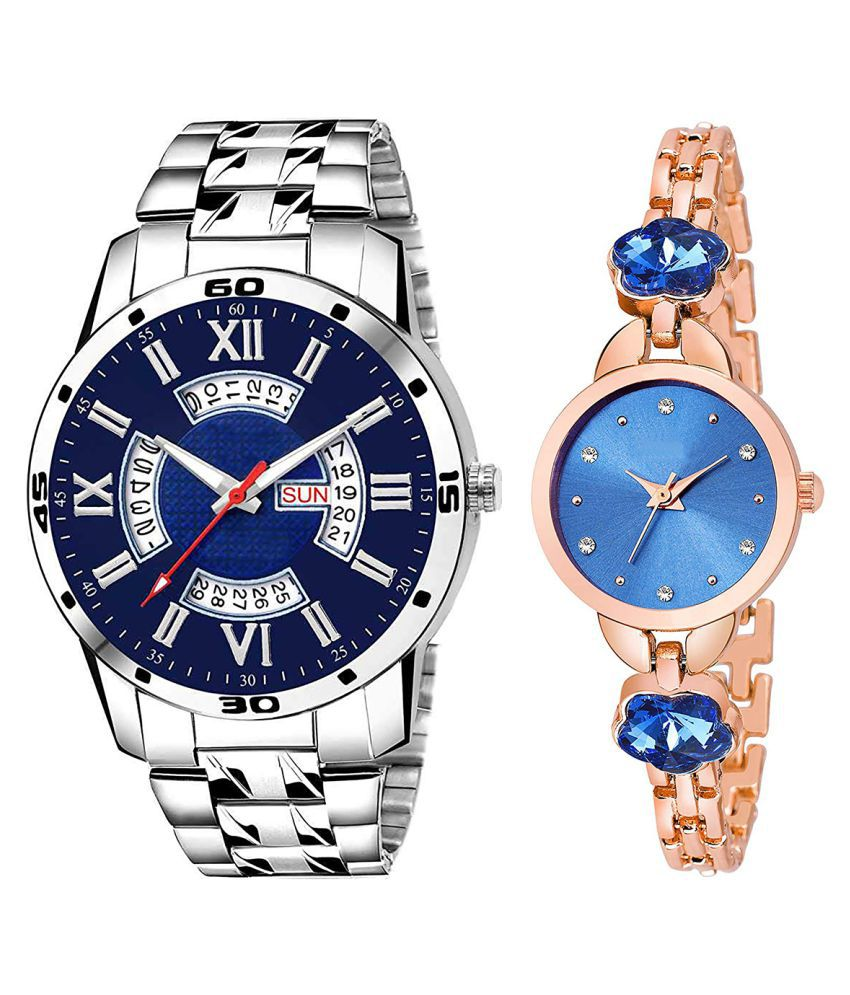 Vasant Impex Blue Dial Day And Date New Stylish Couple Watch For Men And Women 207