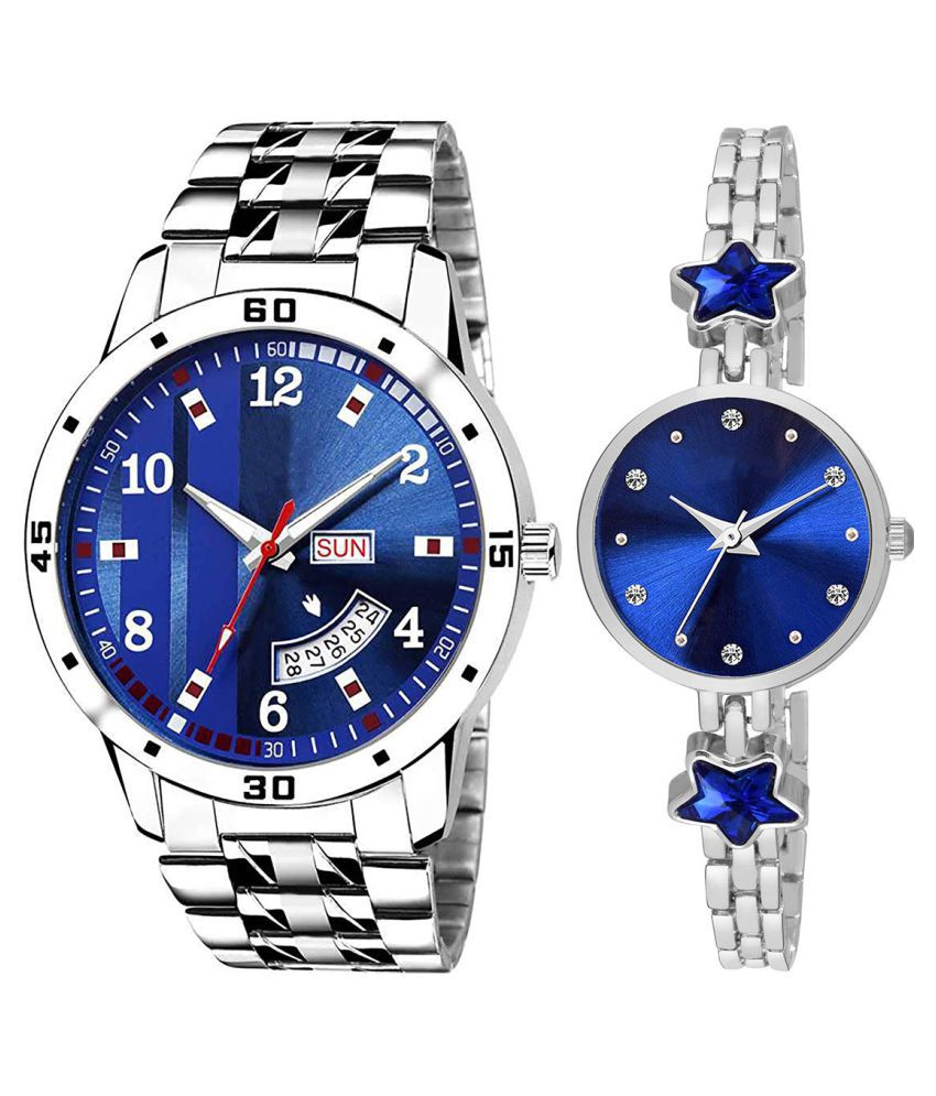 Vasant Impex Blue Dial Day And Date New Stylish Couple Watch For Men And Women 186