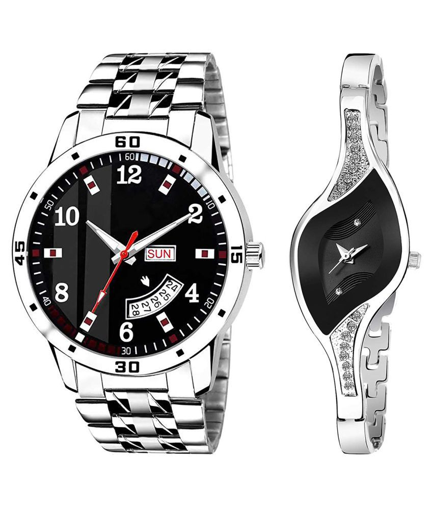 Vrutti Enterprise Black Dial Day & date Fancy Couple Watch For New Lovers 044