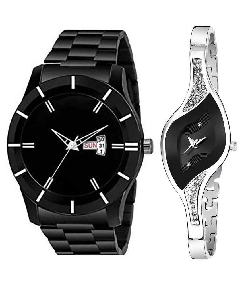 Vrutti Enterprise Black Dial Day & date Fancy Couple Watch For New Lovers 059