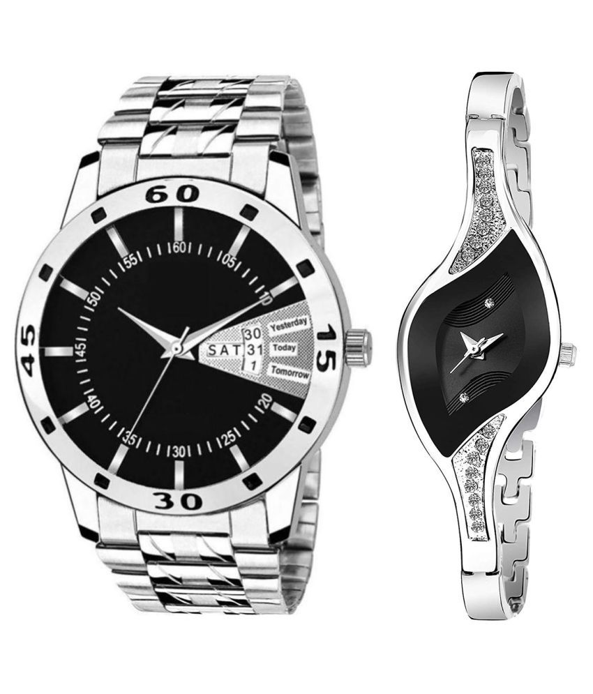 Vrutti Enterprise Black Dial Day & date Fancy Couple Watch For New Lovers 019