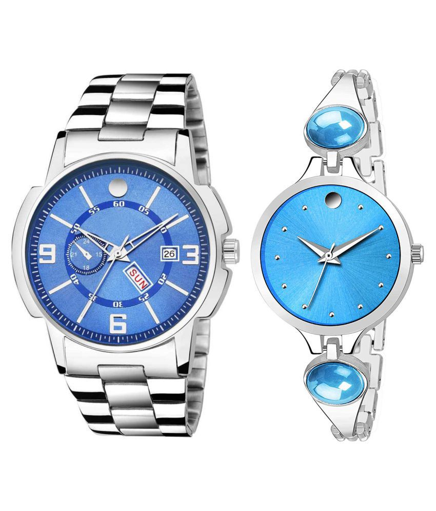 Vrutti Enterprise Blue Dial Day And Date New Stylish Couple Watch For Men And Women 232
