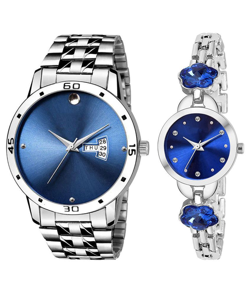 Vrutti Enterprise Blue Dial Day And Date New Stylish Couple Watch For Men And Women 240