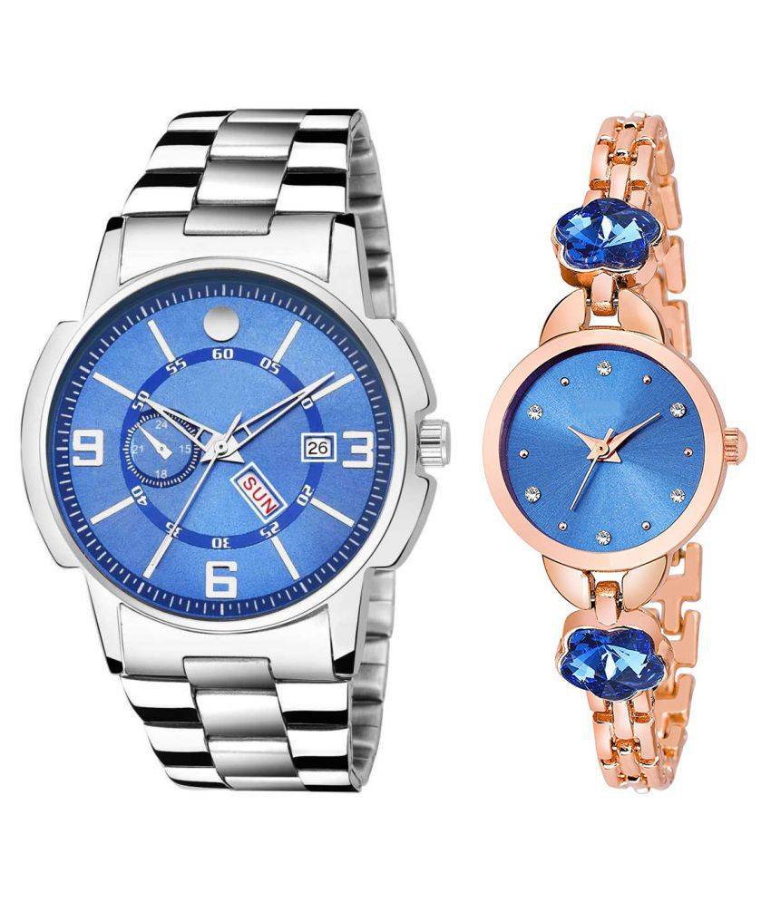 Vrutti Enterprise Blue Dial Day And Date New Stylish Couple Watch For Men And Women 223