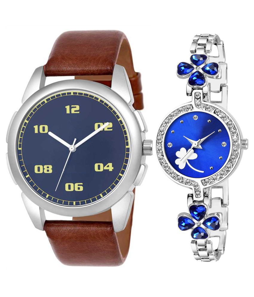 Vrutti Enterprise Blue Dial  New Stylish Couple Watch For Men And Women 278