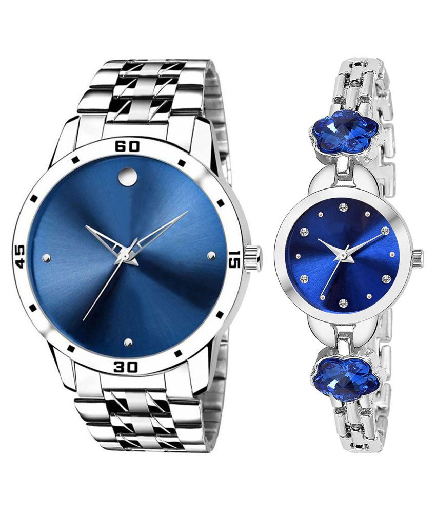 Vrutti Enterprise Blue Dial  New Stylish Couple Watch For Men And Women 304