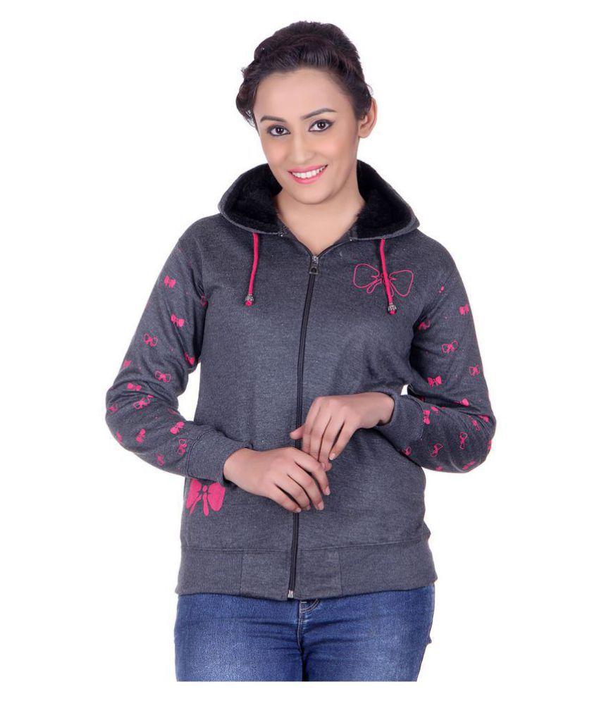 Goodluck Cotton - Fleece Grey Hooded Sweatshirt