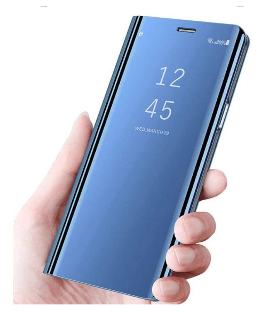 buy popular 69c5b f4367 Samsung Galaxy A6 Plus 2018 Flip Cover by BeingStylish - Blue Luxury Clear  View Mirror Flip Cover