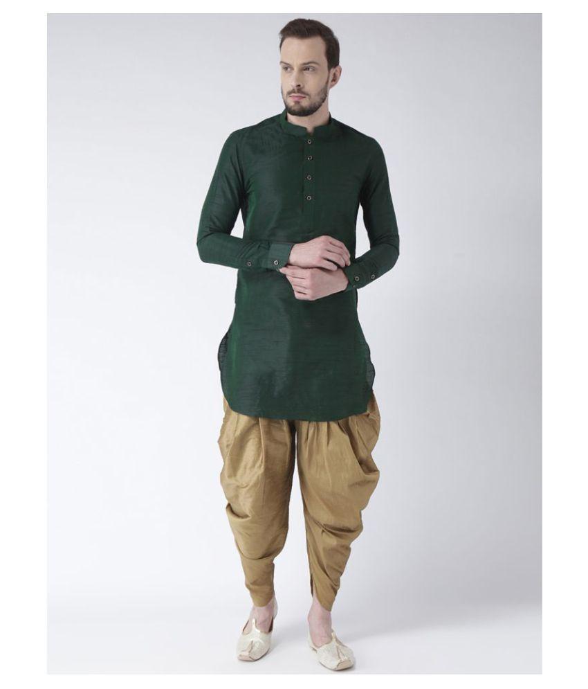 Deyann Green Silk Blend Dhoti Kurta Set