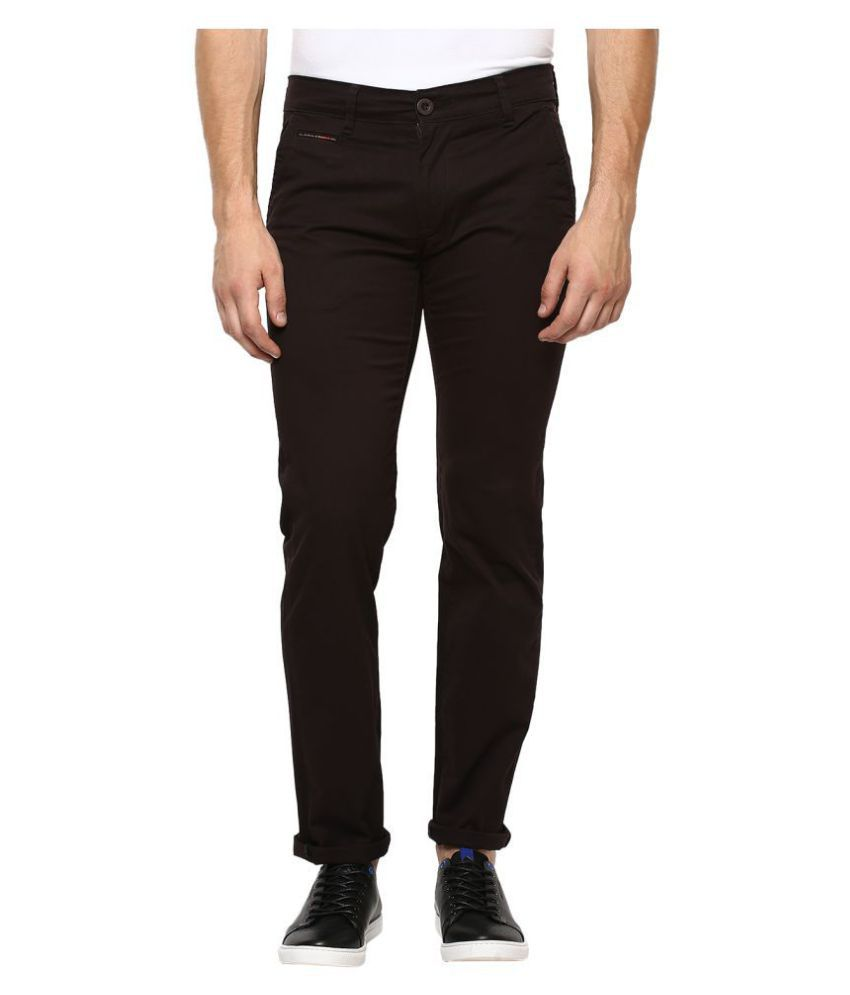 Mufti Brown Slim -Fit Flat Chinos
