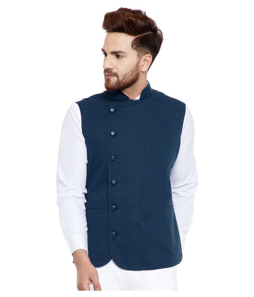 Hypernation Blue Cotton Nehru Jacket