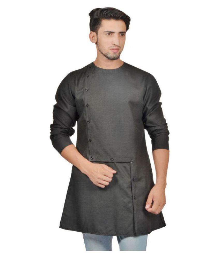 23e85c1e62 S9 Men Black Cotton Blend Kurta Single - Buy S9 Men Black Cotton Blend Kurta  Single Online at Low Price in India - Snapdeal