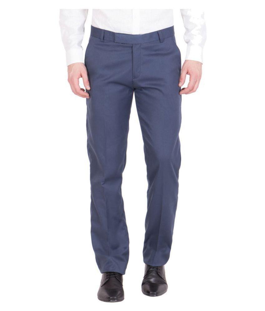 VESTILO Blue Slim -Fit Flat Trousers